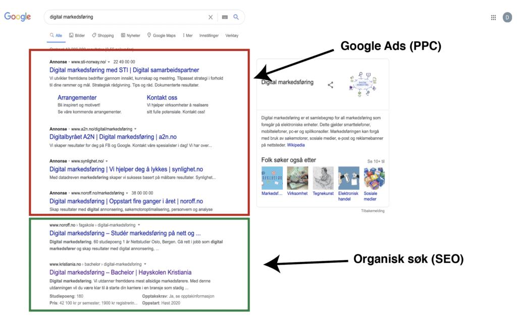 søkeresultat i google