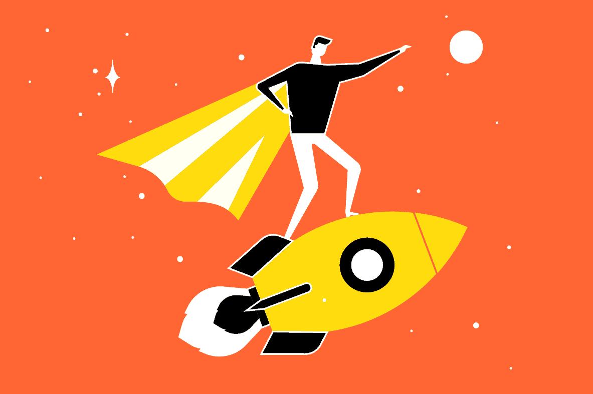 person-verdensrommet-vektor-romskip-kappe-stjerner