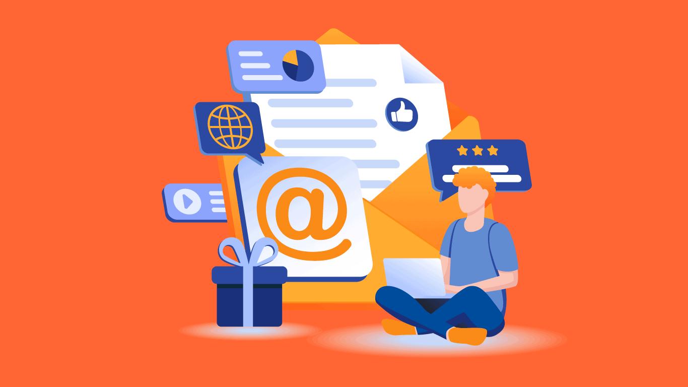 illustrasjon av e-postmarkedsføring